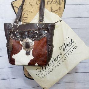 American West Leather Handbag Tote Purse